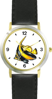 Striped Black & Yellow Angel Fish Animal - WATCHBUDDY DLX 2-TONE THEME WATCH - Black Strap-Lady's Std Size at Sears.com