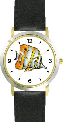 Striped White & Yellow Angel Fish Animal - WATCHBUDDY DLX 2-TONE THEME WATCH - Black Strap-Lady's Std Size at Sears.com