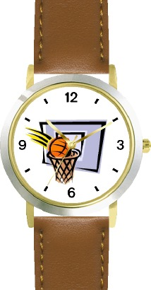 WatchBuddy Basketball, Hoop, Backboard, Swish Basketball Theme - WATCHBUDDY DLX 2-TONE THEME WATCH - Brown Strap-Kid's Size at Sears.com