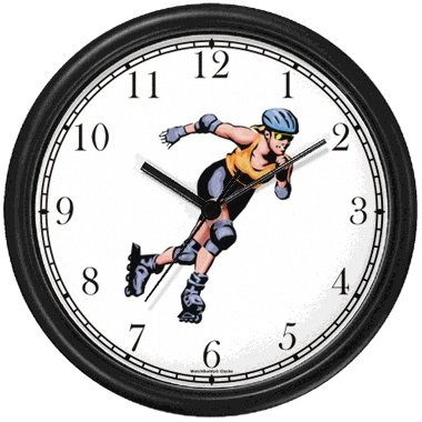 WatchBuddy Woman or Girl Roller Blading - Roller Skating or Blading Theme Wall Clock by WatchBuddy Timepieces (Slate Blue Frame) at Sears.com