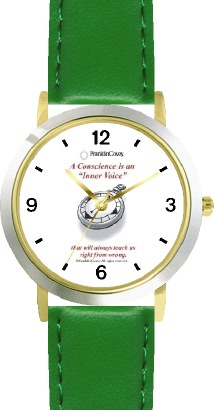 WatchBuddy Habit 1 - Conscience is a Compass (Eng. Text) - DLX 2-TONE WATCH, THE 7 HABITS - BY WATCHBUDDY - Green Strap-Lady's Std Size at Sears.com