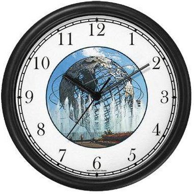 WatchBuddy Unisphere NY World's Fair Grounds (JP6) Famous Lankmarks Clock by WatchBuddy Timepieces (White Frame) at Sears.com